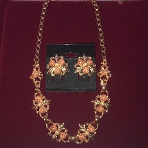 Vintage Rose Pearl & Stone Necklace & Earring Set